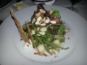 Mus Greens with Pears, Almonds, Almond Cracker, Bal Vineg and Goat Cheese